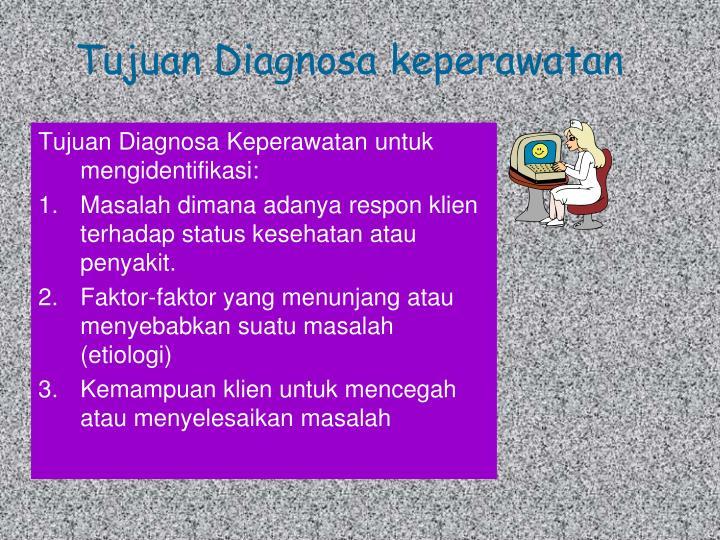 Tujuan Diagnosa Keperawatan untuk mengidentifikasi: