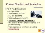 contact numbers and reminders