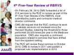 4 th five year review of rbrvs
