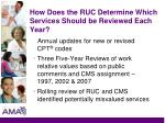 how does the ruc determine which services should be reviewed each year