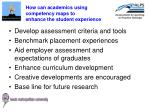 how can academics using competency maps to enhance the student experience