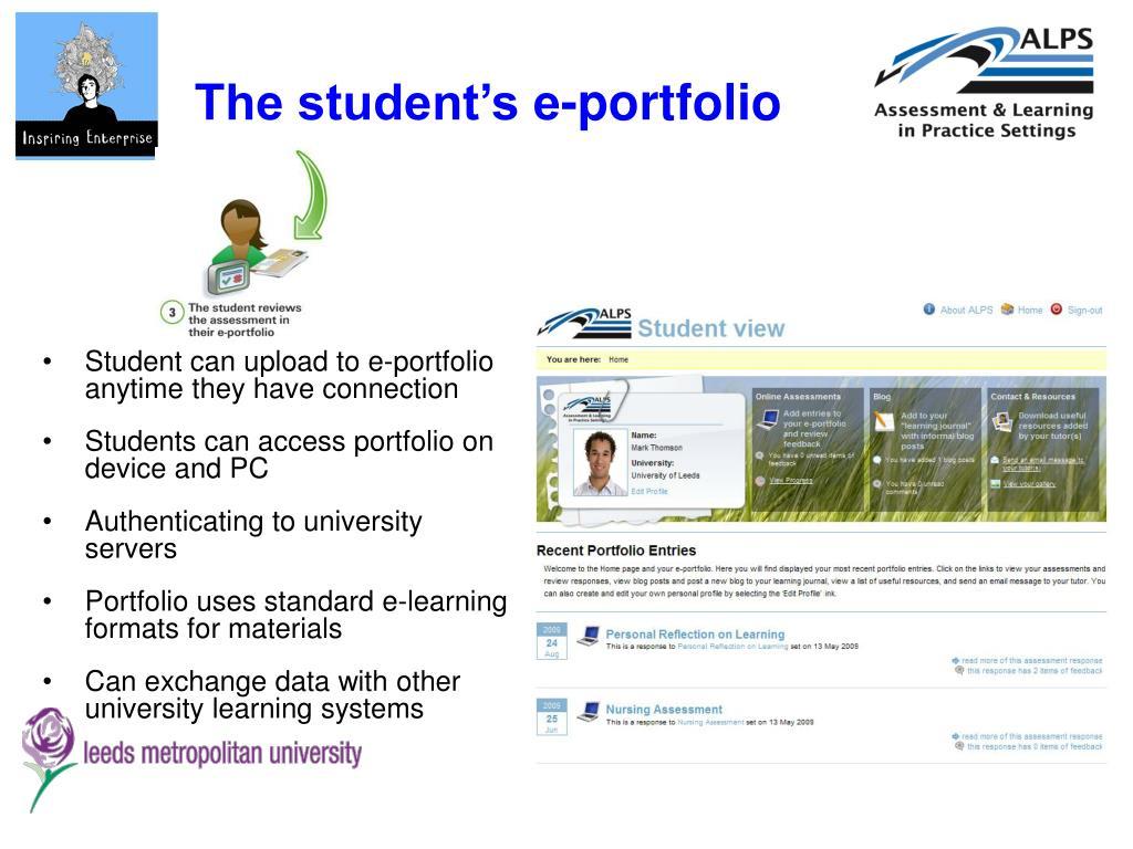 The student's e-portfolio
