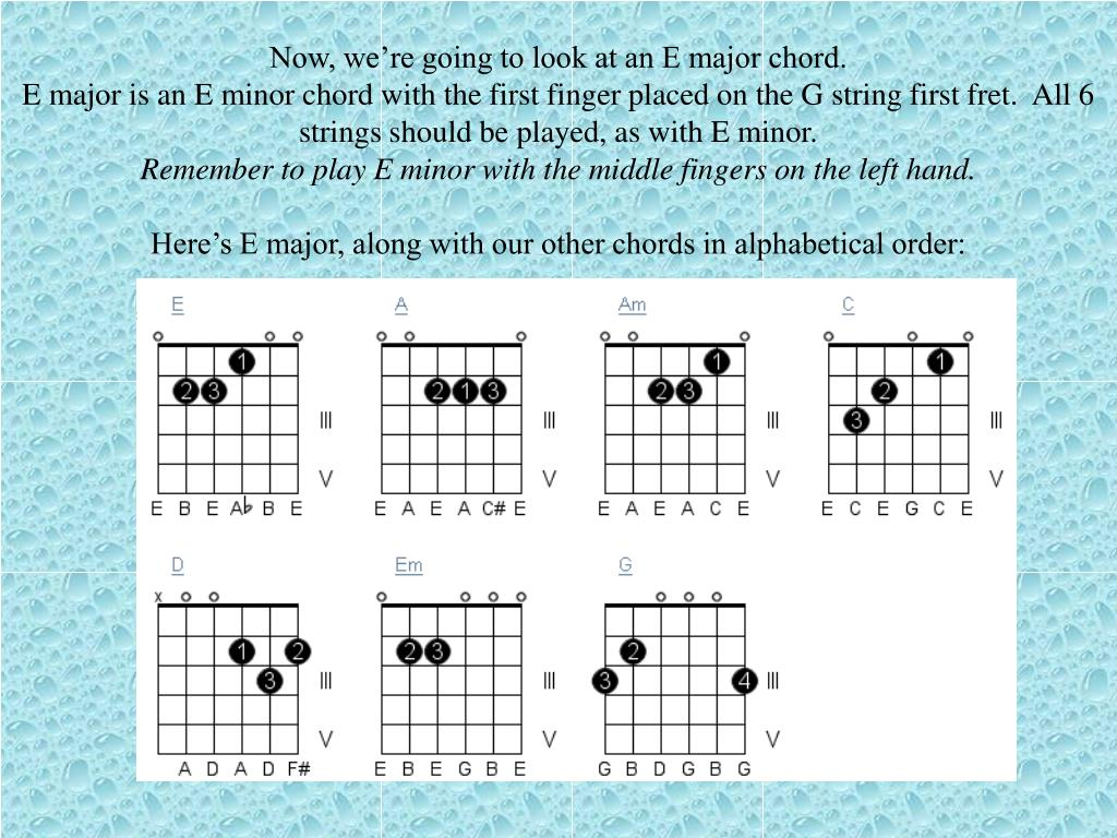 Now, we're going to look at an E major chord.