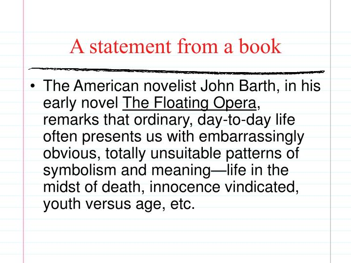 A statement from a book