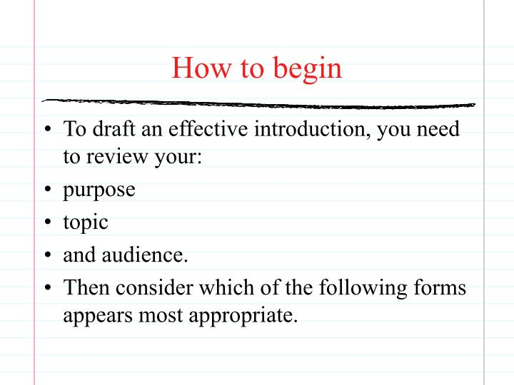 How to begin