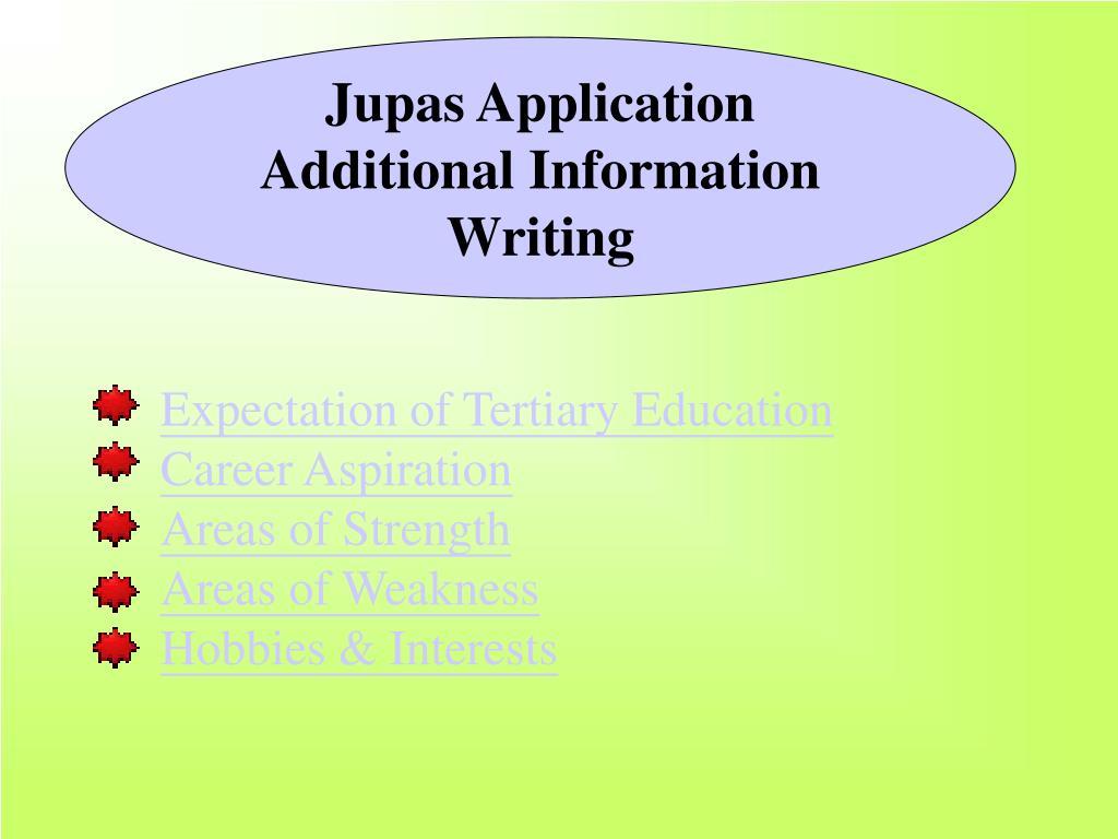 jupas application additional information writing l.