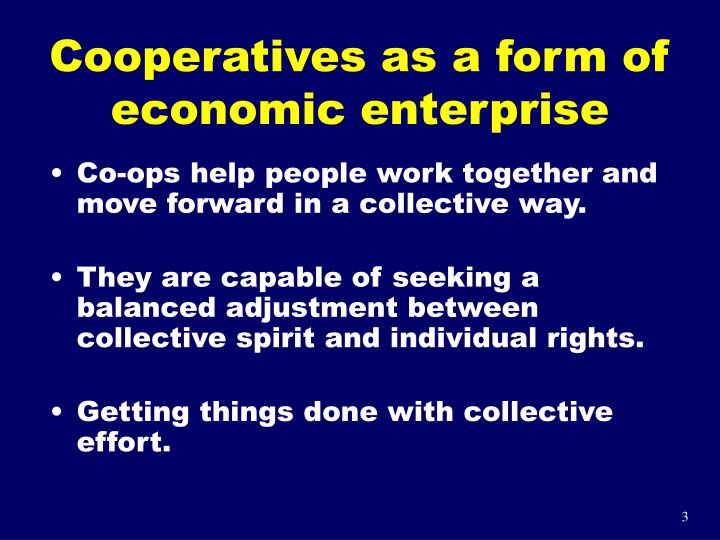 Cooperatives as a form of economic enterprise