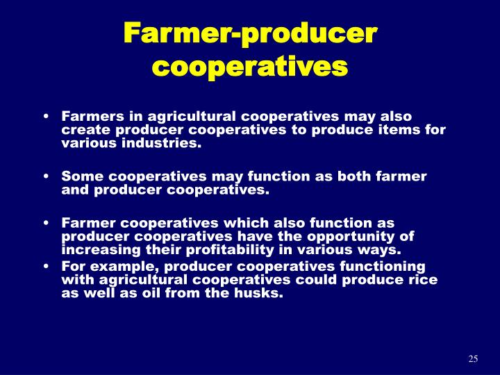 Farmer-producer cooperatives