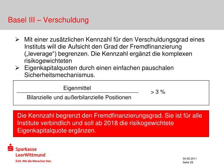 Basel III – Verschuldung
