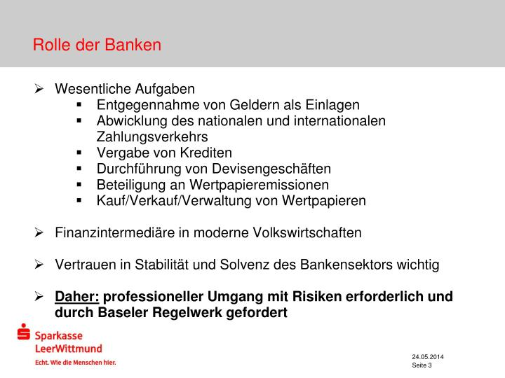 Rolle der banken