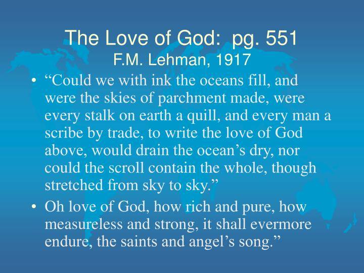 The Love of God:  pg. 551