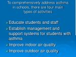 to comprehensively address asthma in schools there are four main types of activities