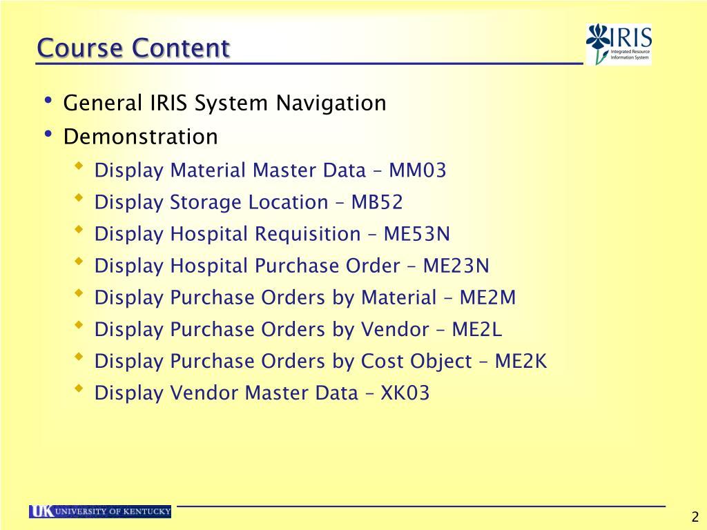 PPT - Materials Management Navigation & Display PowerPoint