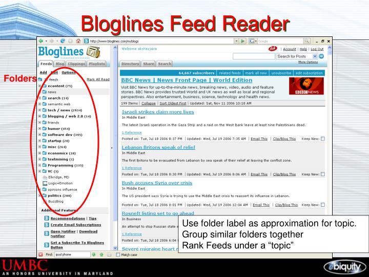Bloglines feed reader