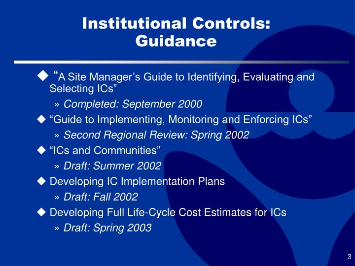 Institutional controls guidance