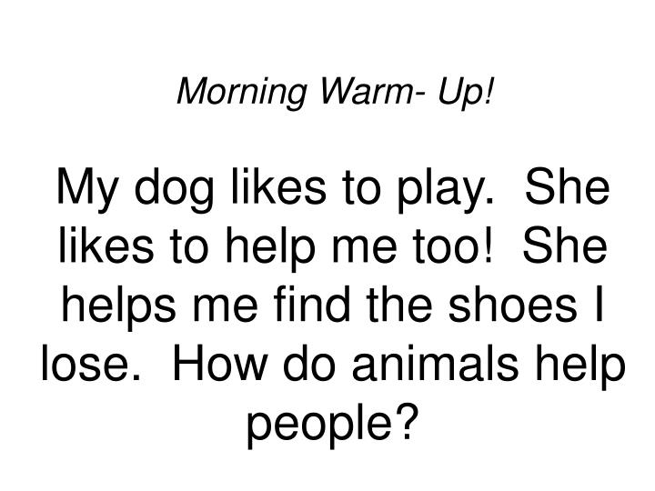 Ppt Morning Warm Up My Dog Likes To Play She Likes To Help Me