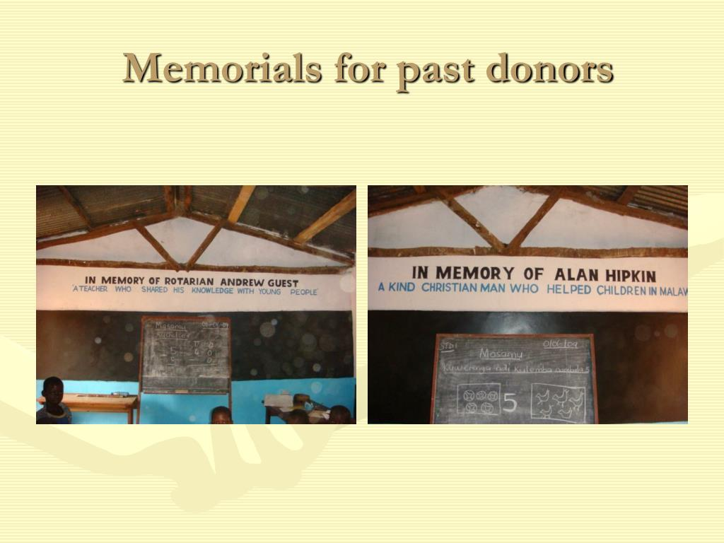 Memorials for past donors