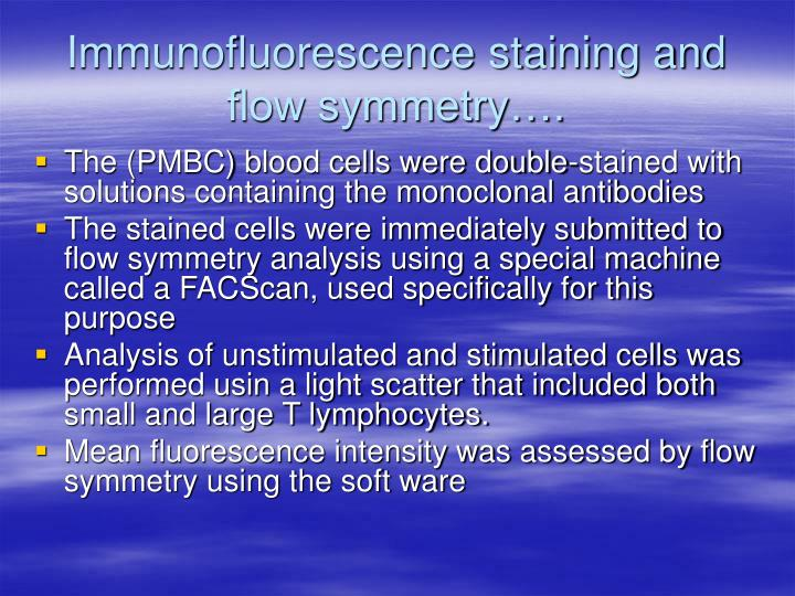 Immunofluorescence staining and flow symmetry….