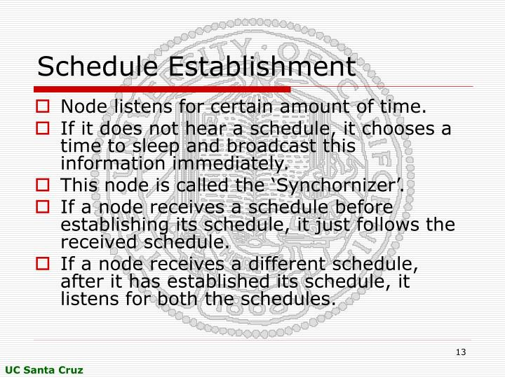 Schedule Establishment