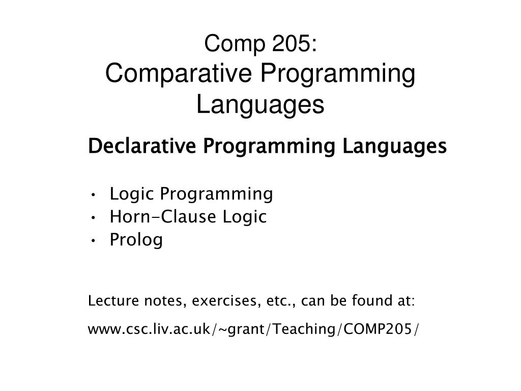 comp 205 comparative programming languages l.