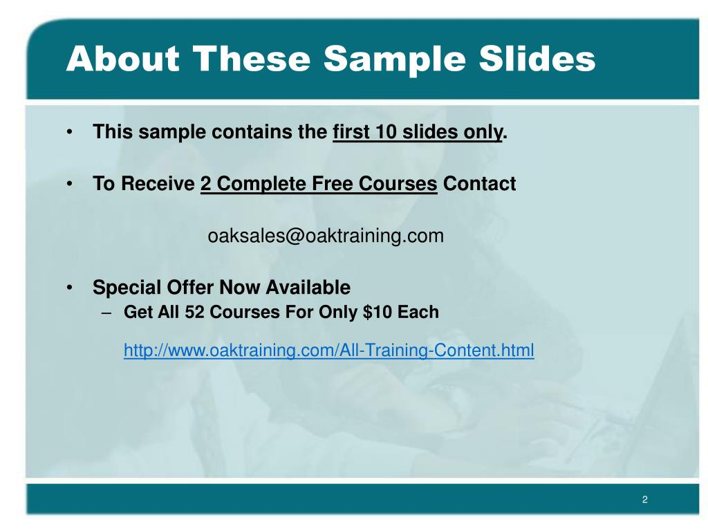 About These Sample Slides