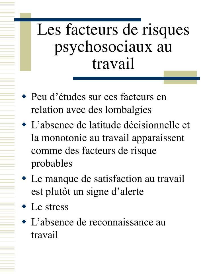 Les facteurs de risques psychosociaux au travail