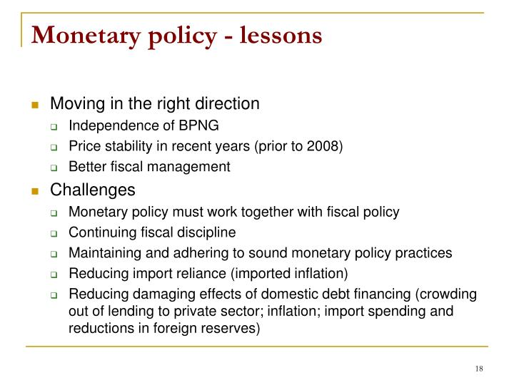 Monetary policy - lessons