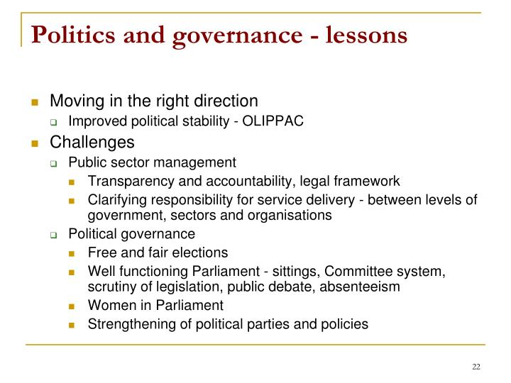 Politics and governance - lessons