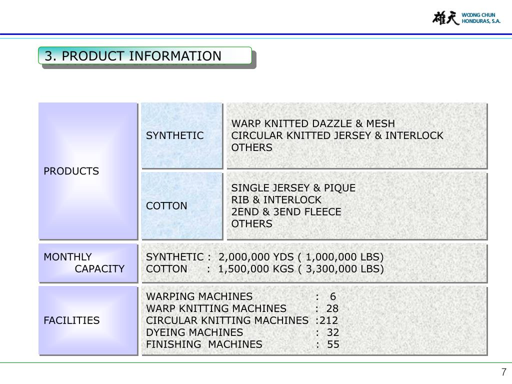 3. PRODUCT INFORMATION