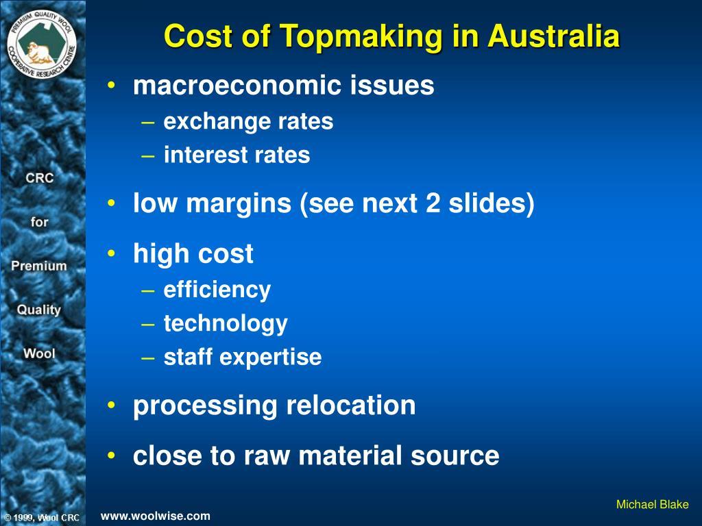 Cost of Topmaking in Australia