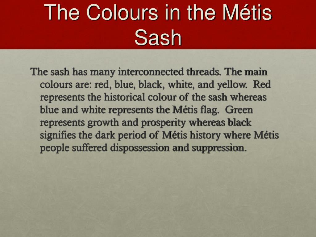 The Colours in the Métis Sash