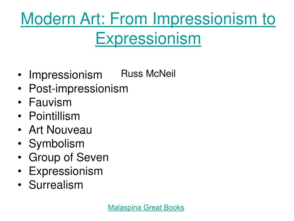 modern art from impressionism to expressionism russ mcneil l.