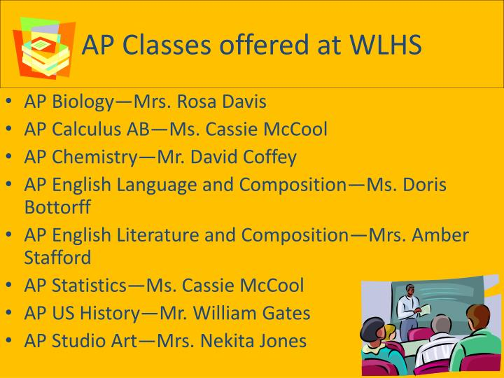 AP Classes offered at WLHS