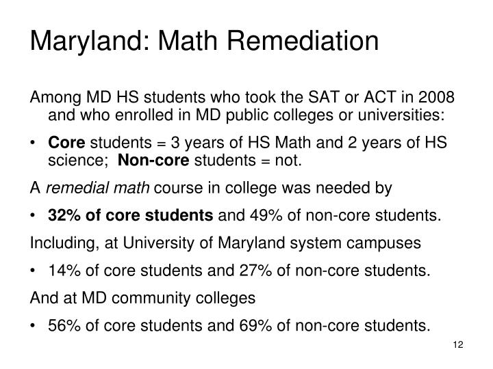 Maryland: Math Remediation