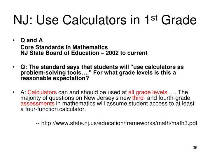 NJ: Use Calculators in 1