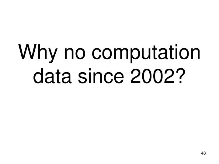 Why no computation data since 2002?