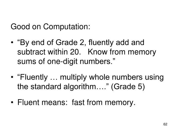 Good on Computation: