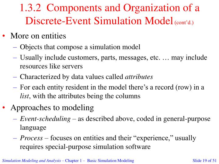 1.3.2  Components and Organization of a Discrete-Event Simulation Model