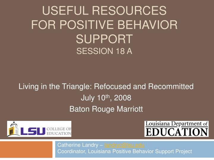 useful resources for positive behavior support session 18 a n.