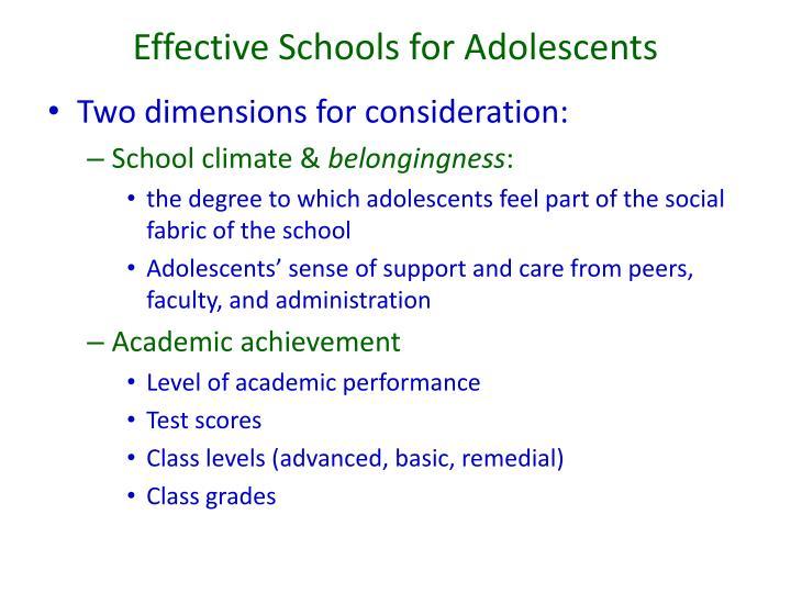 Effective Schools for Adolescents
