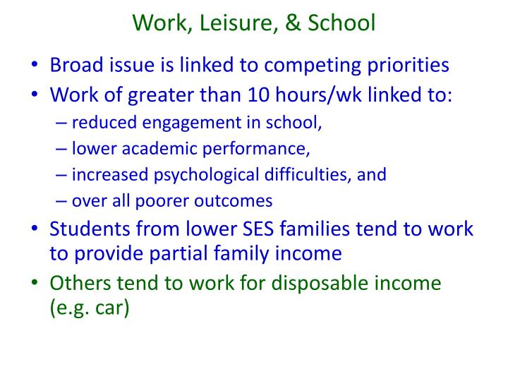 Work, Leisure, & School