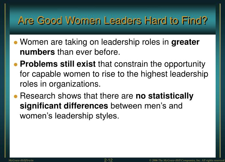 Are Good Women Leaders Hard to Find?