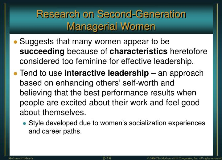 Research on Second-Generation Managerial Women