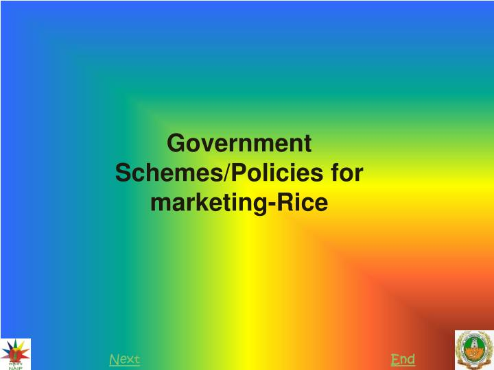 government schemes policies for marketing rice