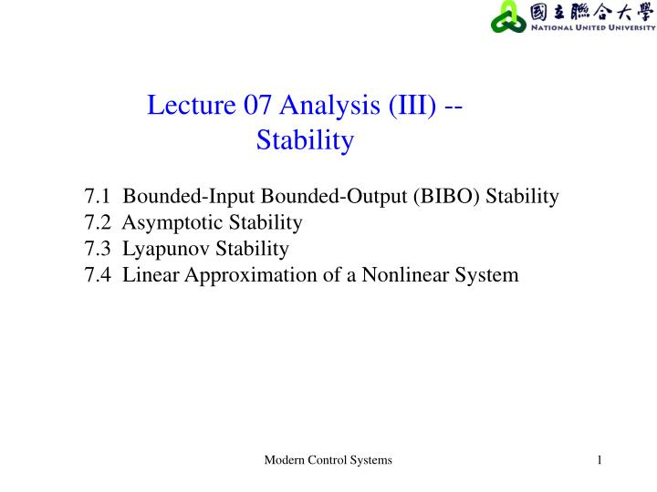 Ppt Lecture 07 Analysis Iii Stability Powerpoint Presentation