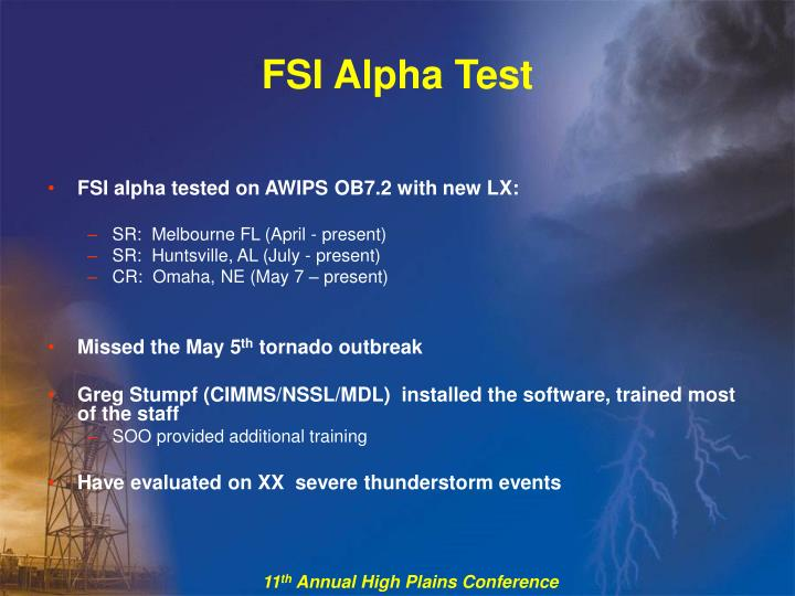 FSI Alpha Test