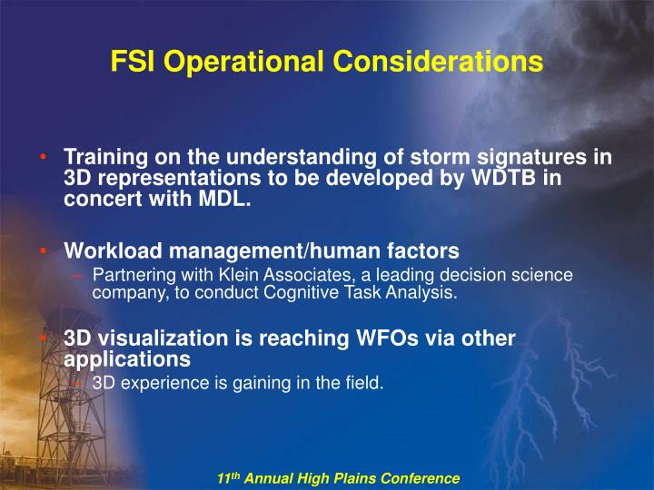FSI Operational Considerations