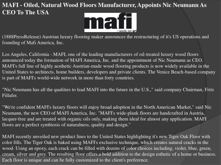 MAFI - Oiled, Natural Wood Floors Manufacturer, Appoints Nic Neumann As CEO To The USA