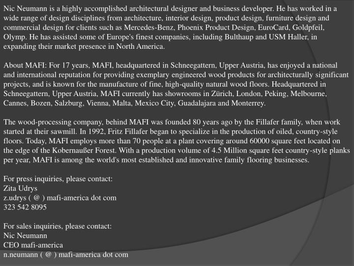 Nic Neumann is a highly accomplished architectural designer and business developer. He has worked in...