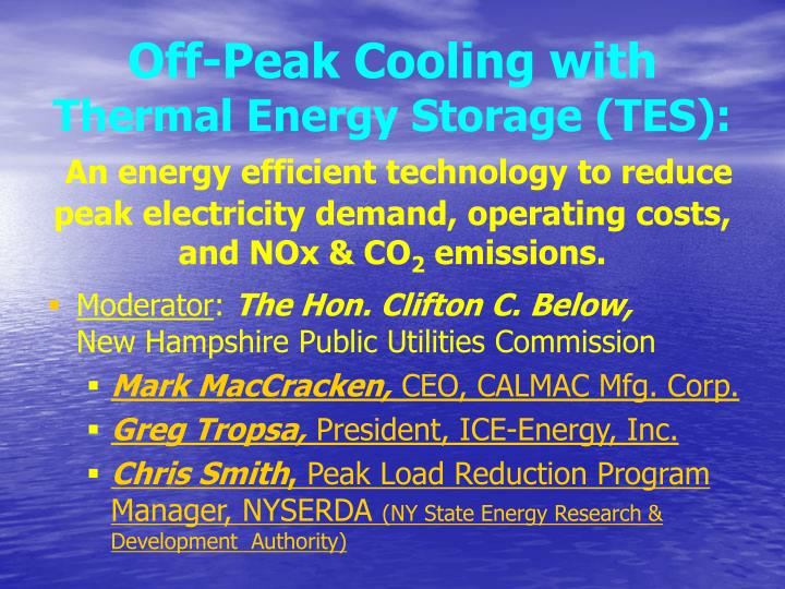 Off-Peak Cooling with
